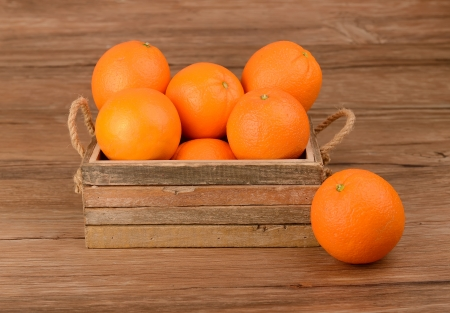 Fresh oranges in wooden box photo