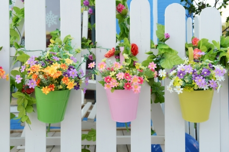 sun flower: Hanging Flower Pots with fence Stock Photo