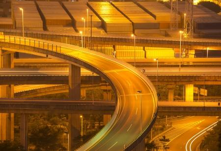 highway overpass at night photo