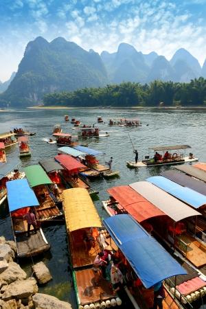 Bamboo raft at river near Yangshuo, Guanxi province, China