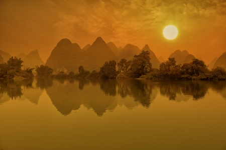 guilin: Sunset landscape of yangshuo in guilin,china