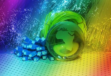world map technology style against fiber optic background Stock Photo - 20415463