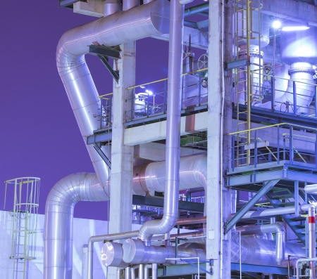plant oil: Refinery industrial plant with Industry boiler at night Stock Photo