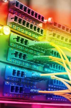 patch panel: Technology center with fiber optic equipment Stock Photo