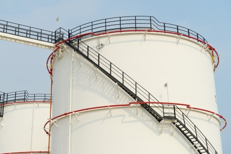 factory farm: big Industrial oil tanks in a refinery Stock Photo