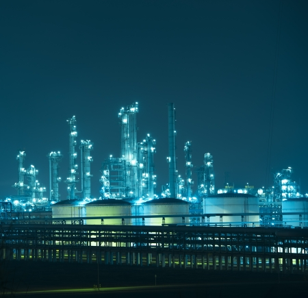refine: Refinery industrial plant with Industry boiler at night Stock Photo