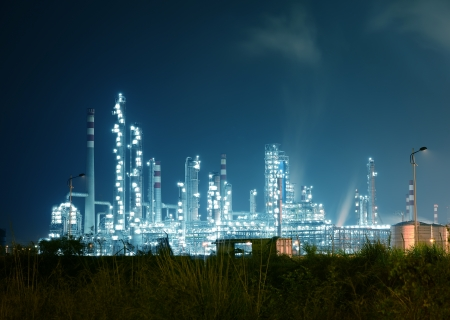 boiling tube: Refinery industrial plant with Industry boiler at night Stock Photo
