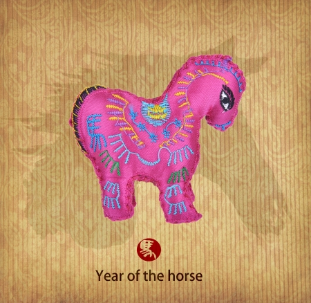 year of the horse design,Chinese Knots with horse Luck Symbol. photo