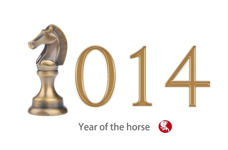 year of the horse 2014 design, Happy Chinese New Year greeting Stock Photo - 22507110