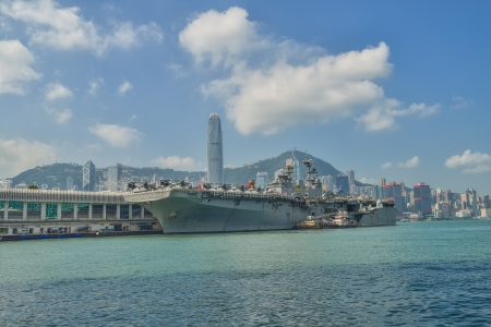 amphibious: HONG KONG, CHINA - Sept 18:The U.S. amphibious assault ship USS Bonhomme Richard pulled in Hong Kong waters on Sept 18,2013 to get replenishment.Commi ssioned in 1998, the 40,500-ton vessel Editorial