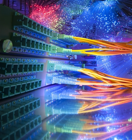 Technology center with fiber optic equipment Stockfoto