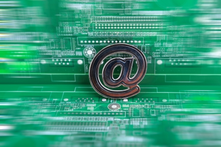 E-mail symbol on circuit board photo