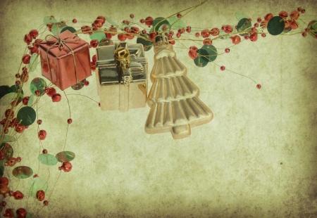 fir twig: Christmas decoration on Vintage christmas background