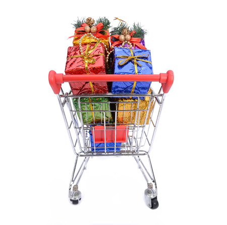 Christmas gifts in shopping cart photo