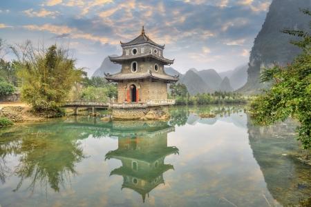 guilin: The wrenching  tower in guangxi, China.