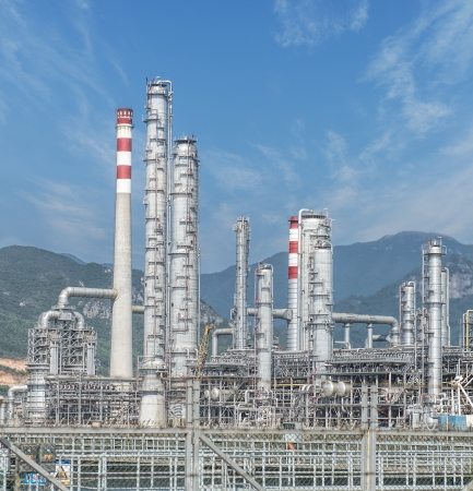 process industry: gas processing factory. landscape with gas and oil industry