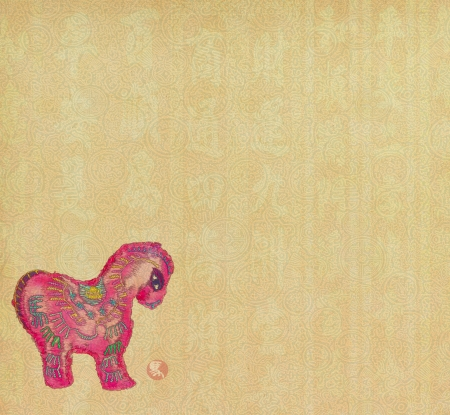 chinese horse knot on paper background, word for 'horse', 2014 is year of the horse photo