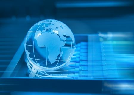 optic fiber: world map technology style against fiber optic background