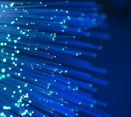 fiber optic: optical fibres dinamic flying from deep on technology background