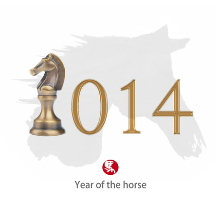 year of the horse 2014 design, Happy Chinese New Year greeting photo