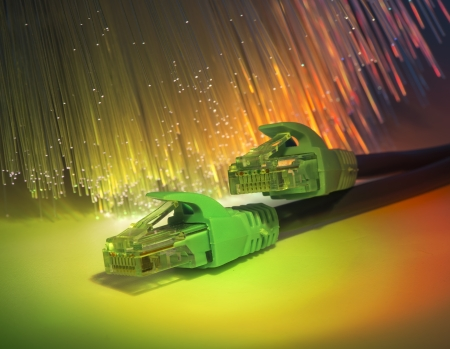 wan: network cable with high tech technology color background
