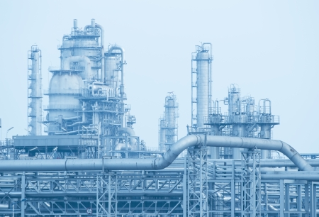 complex system: gas processing factory. landscape with gas and oil industry