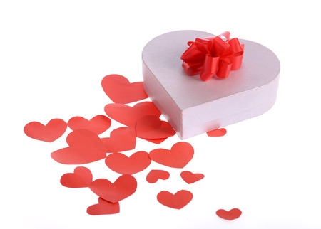 heart shaped stuff: valentine day gift with ribbon on white Stock Photo