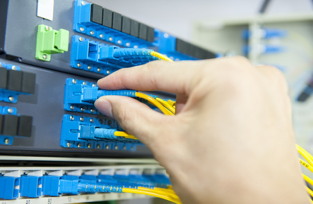 Technology center with fiber optic equipment photo
