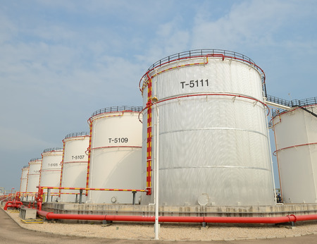 storage tank: big Industrial oil tanks in a refinery Stock Photo