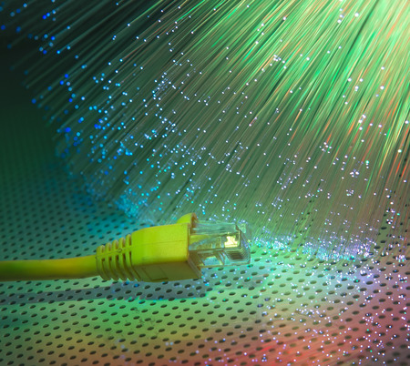 network cable with high tech technology color background photo