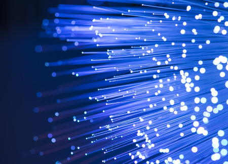 computer data concept with fiber optic for global communication photo