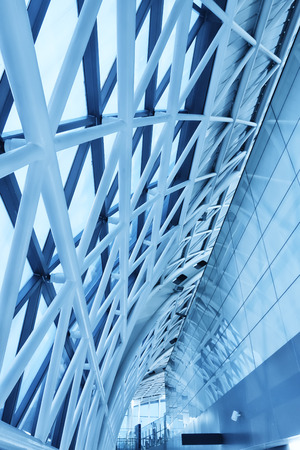 structural: Contemporary office building blue glass wall detail