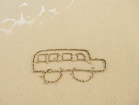 bus drawing in the sand photo
