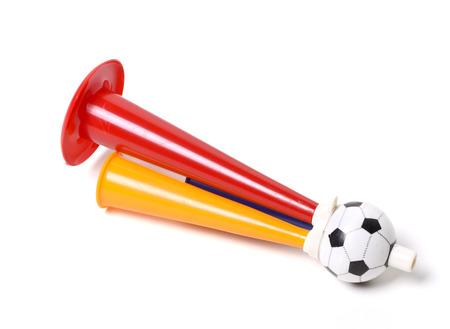 Football soccer triple fan trumpet photo