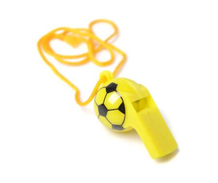 studioshoot: football shape whistle isolated on a white background.
