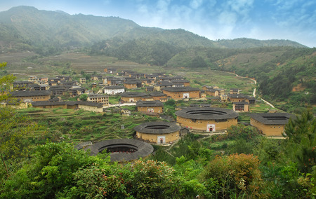 Hakka Roundhouse tulou walled village located in Fujian, China Stock Photo