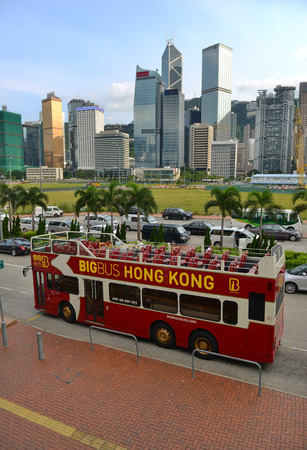 terminus: HONGKONG -SEPTEMBER 2 2013: Citybus from Star Ferry Central to lower Peak Tram Terminus. Star Ferry Central bus terminal. Editorial