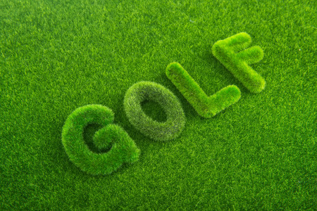 golf green grass word on green background photo