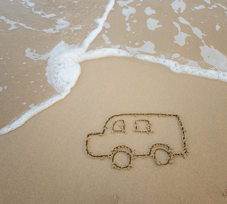 estival: bus drawing in the sand