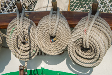 coiled rope: Coiled rope on boats deck