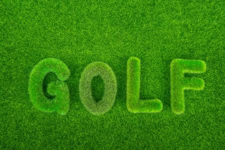 golf club: golf green grass word on green background