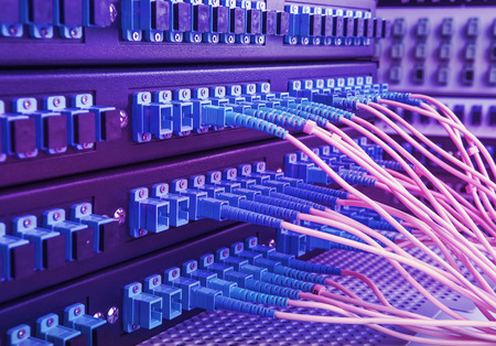 switch plug: Technology center with fiber optic equipment Stock Photo