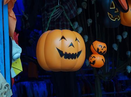Spooky Halloween Jack o Lantern close up photo