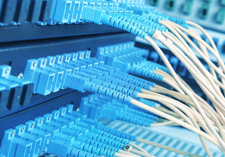 Technology center with fiber optic equipment Stock Photo