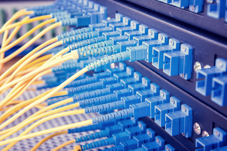 computer center: Technology center with fiber optic equipment Stock Photo