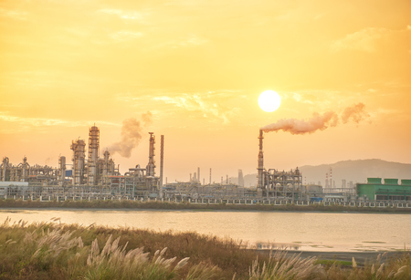 Refinery industrial plant with Industry boiler at evening