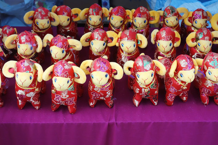 goat peach: chinese goat dolls, 2015 is year of the goat Stock Photo