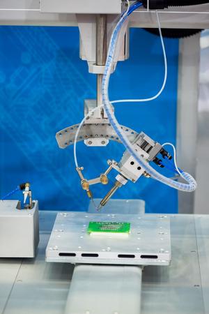engineer computer: Robot Welding Stock Photo