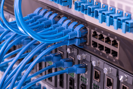 network cables connected to switch 스톡 콘텐츠
