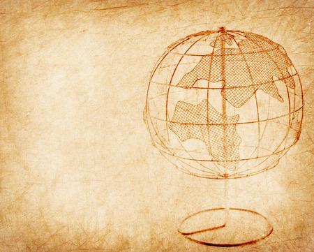 oldened: Earth globe on Old antique vintage paper background